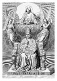 Pope Pius IX apotheosis, vintage portrait. Allegorical apotheosis of Pope Pius IX on his throne, surrounded by angels and Jesus Christ, vintage engraving Stock Photo