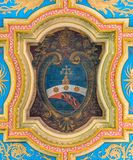Pope Pius VII coat of arms in the ceiling of the Basilica of Sant`Anastasia near the Palatine in Rome, Italy. stock images