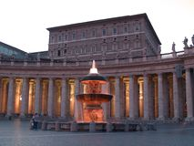 Pope's apartment. St. Peter square, church and pope's residence Stock Image