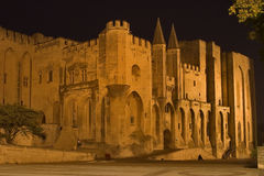 Pope's palace. Middle-aged pope's palace in Avignon at night royalty free stock photos