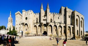 Pope`s Palace in Avignon, Provence. Palais des Papes royalty free stock photography