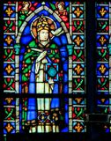 Pope Saint Gregory the Great - Stained Glass in Santa Croce, Ita Royalty Free Stock Image