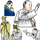 Pope Set. Colored Illustrations, Vector Stock Images