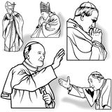 Pope Set. Outlined Illustrations, Vector Stock Images