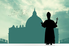 Pope silhouette. Illustration of a pope silhouette in Vatican Royalty Free Stock Photos