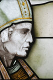 Pope in stained glass. Religious figure made from colourful stained glass royalty free stock image