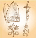 Pope symbolS. Vatican Symbols DESIGNED BY HAND, HAIR ,and CROSS EMBLEm Royalty Free Stock Image