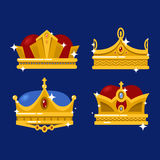 Pope tiara and king crown set of icons. Set of emperor or king shiny golden crown or pope tiara. Monarch heraldic sign or vintage blinking diadem icon design Stock Photo