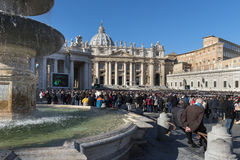 Pope uudience on st. Peter`s square in Vatican Stock Image