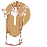 The Pope. Vector illustration of blessing catolic Pope with place for you text Stock Photo