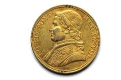 Pope złociste monety Pivs IX Pont 1853 Obrazy Royalty Free