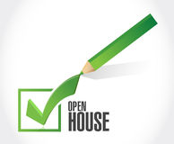 0popen house check mark sign concept. Open house check mark sign concept illustration design over white background Stock Image