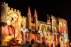 Popes pałac w Avignon, Francja nocą Fotografia Royalty Free