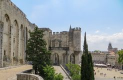 Popes Palace And Public Plaza, UNESCO World Heritage Site, Avignon, France Stock Image