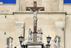 Popes Palace in Avignon, France. Crucifix in The Popes Palace in Avignon, France Stock Photo