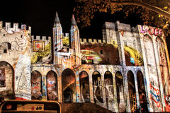 Popes' Palace in Avignon, France by night Stock Images
