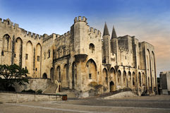 Popes Palace. Palace of the popes in Avignon, Provence, recognized as UNESCO  world heritage site Stock Photo