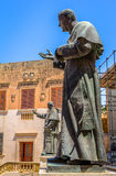 Popes Sculptures. Sculptures of Pope John Paul II and Pius IX at the entrance of the Gozo Cathedral in Malta Royalty Free Stock Photography