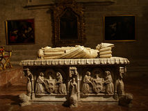 Popes tomb. Marble tomb of an old pope Stock Photography