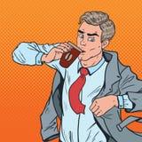 Popet Art Businessman rusar in sent för att arbeta Man med kontoret för kaffebrådska upp till royaltyfri illustrationer