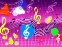 Popet för musikbakgrundsshower vaggar och instrument Arkivbild