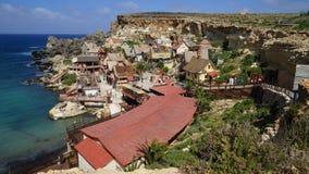 Popeye村庄在Mellieha,马耳他 库存照片