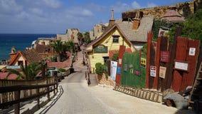 Popeye村庄在Mellieha,马耳他 库存图片