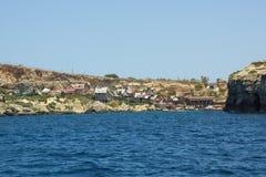 Popeye村庄影片集合吸引力在马耳他观察从t 免版税库存照片