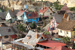 Popeye Village, Anchor Bay, Malta. Popeye Village, also known as Sweethaven Village - a film set, Malta Royalty Free Stock Image