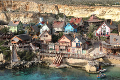 Popeye Village, Anchor Bay, Malta. Popeye Village, also known as Sweethaven Village - a film set, Malta Stock Images