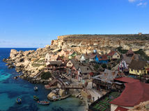 Popeye village. Famous Popeye village in Malta Royalty Free Stock Images