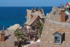 Popeye village, Malta. Rooftops of buildings at Popeye Village, Malta Stock Photos