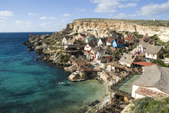 Popeye village in Malta. Popeye village in a bay, Malta Stock Images