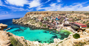 Popeye village in Malta. Famous Popeye village in Malta Royalty Free Stock Images