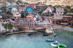 Popeye village in Malta. POPEYE VILLAGE, MALTA - JULY 18: Famous funpark Popeye Village in Malta on July 18, 2015 in Popeye Village Royalty Free Stock Photography