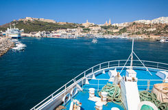 Popeye village in Malta. MGARR, MALTA - JULY 19: Port at town Mgarr in island Gozo on July 19, 2015 in Gozo Stock Photography