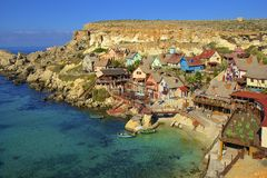 Popeye village, Malta. Panorama of Popeye village in Malta Royalty Free Stock Photo