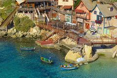 Popeye village, Malta. Panorama of Popeye village in Malta Royalty Free Stock Images