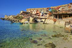 Popeye village, Malta. Panorama of Popeye village in Malta Stock Image