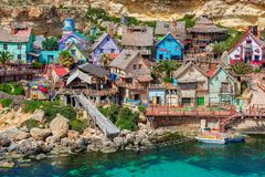 Popeye Village Malta. Popeye Village on the island of Malta, which was used as the set for Robert Altman`s movie `Popeye` 1980. It is now in use as an amusement Stock Photo