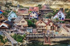Popeye Village, Malta. Popeye Village in Malta, where the 1980 movie `Popeye` with Robin WIlliams was filmed. It is now a tourist attraction Royalty Free Stock Photos