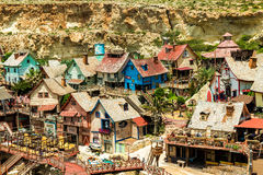 Popeye Village in Mellieha, Malta. Mellieha, Malta - 23 May 2015: Popeye Village. Popeye Village was used as the set for Robert Altman's movie Popeye and is now Royalty Free Stock Photography