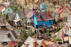 The `Popeye village` and tourists Stock Image