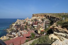 Popeye wioska, filmset rodziny park, wyspa Malta Zdjęcie Royalty Free