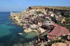 Popeye wioska, filmset rodziny park, wyspa Malta Obraz Royalty Free