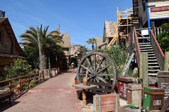 Popeyedorp, filmset familiepark, eiland Malta Royalty-vrije Stock Afbeelding