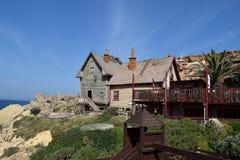 Popeyedorp, filmset familiepark, eiland Malta Royalty-vrije Stock Fotografie