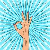 PopFemale ręka pokazuje ok znaka Ilustracja w wystrzał sztuki stylu ilustracji