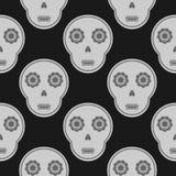 Popielata czaszka na czarnym tle bezszwowy wzoru Zdjęcia Stock