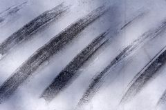 Popielata i biała kreatywnie abstrakcjonistyczna ręka malujący tło, tapeta, tekstura, zakończenia akrylowy obraz na kanwie z czer obrazy stock